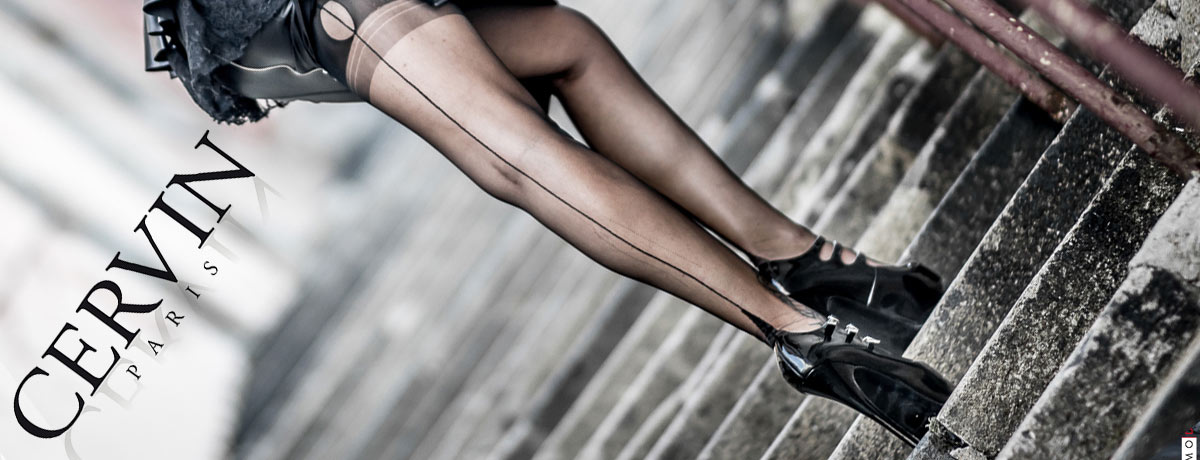 Fully Fashioned Seamed Nylon Stockings by Cervin Paris